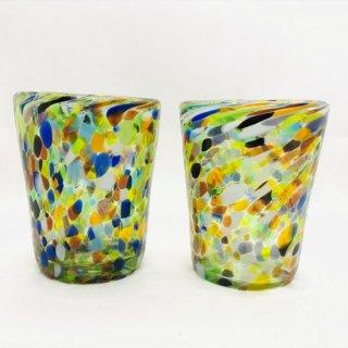 メキシコ リサイクルガラスのコップ ロックグラス マーブル