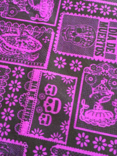 メキシコ 死者の日の生地の切り売り パペルピカド 黒紫 フェルト