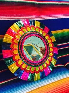メキシコ オハラタの壁掛けミラー サークル