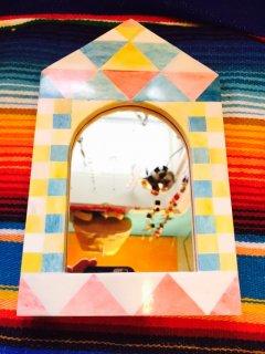 インド バッファローホーンを使用した鏡 インディアンハウス