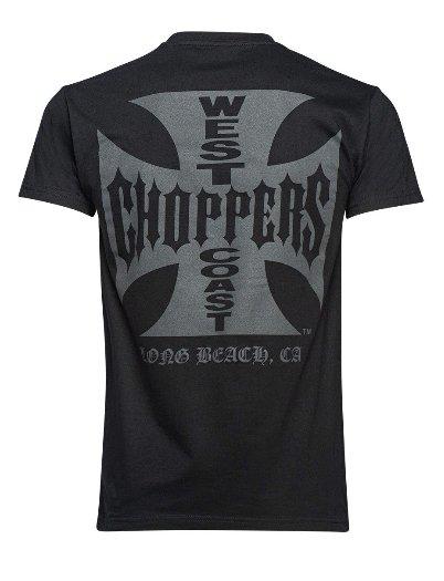 オリジナルクロスTシャツ(黒x黒)Long Beach California