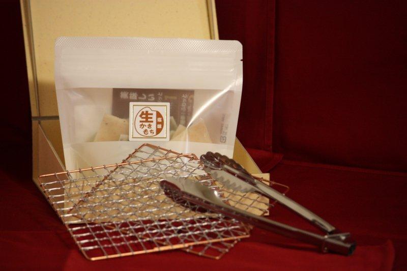 【限定数】生かきもちスタンドパック80g+焼きツール3点のギフト箱セット