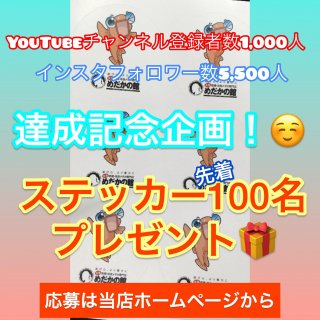 YouTubeチャンネル登録者数1,000人&インスタフォロワー数5,500人達成記念!