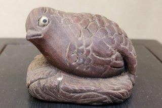 【村長現物】A-68 木彫 根付け 鳥