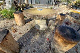 【村長現物】A-97 偽木セメント丸テーブル