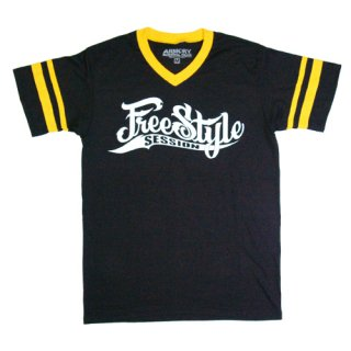 FREESTYLE SESSION <br>STRIPPED JERSEY T-SHIRT<br>(BLACK/YELLOW)<img class='new_mark_img2' src='//img.shop-pro.jp/img/new/icons47.gif' style='border:none;display:inline;margin:0px;padding:0px;width:auto;' />