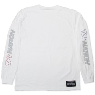 TOPNATION <br>PINSTRIPED  L/S T-SHIRT <br>(WHITE)