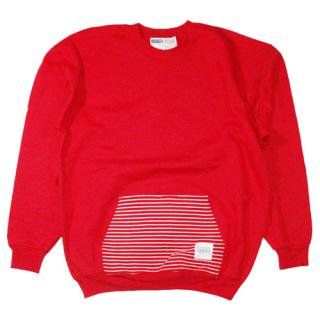 BIGGEST & BADDEST STRIPE POCKET CREWNECK (RED)<img class='new_mark_img2' src='//img.shop-pro.jp/img/new/icons47.gif' style='border:none;display:inline;margin:0px;padding:0px;width:auto;' />
