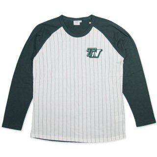 TOPNATION<br> STRIPE RAGLAN SHIRT <br>(WHITE×GREEN)