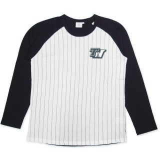 TOPNATION<br> STRIPE RAGLAN SHIRT<br> (WHITE×BLACK)