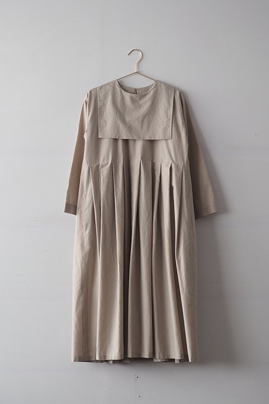 Sailor collar dress(cotton lawn)/beige
