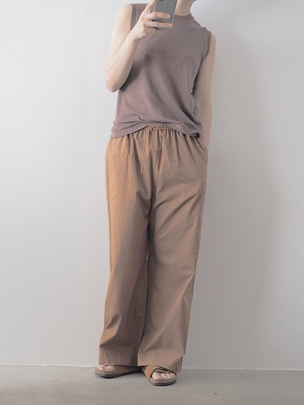 High waist wide pants(cotton lawn)/off white