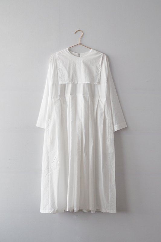 Sailor collar dress(cotton lawn)/off white