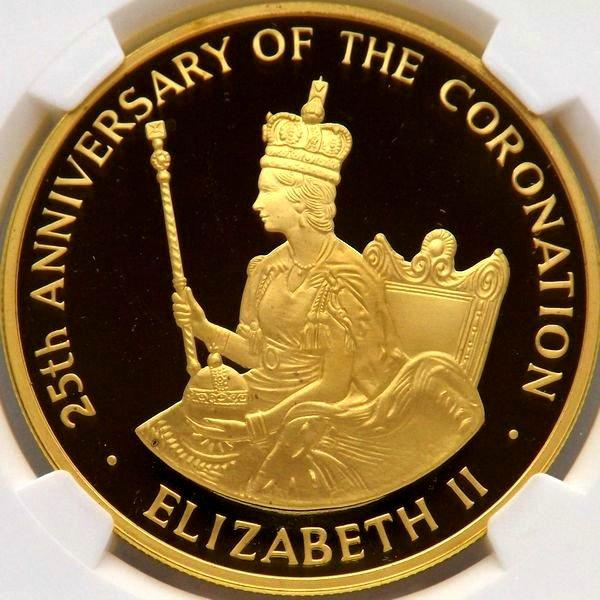 【在庫品】金貨 ジャマイカ 1978 エリザベス即位25周年 5ポンド $250 NGC PF69UC 最高鑑定