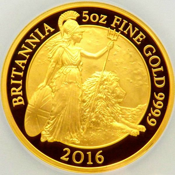 限定55枚 イギリス 2016 ウナとライオン ブリタニア 500ポンド 5オンス 金貨 NGC PF70UC 最上級