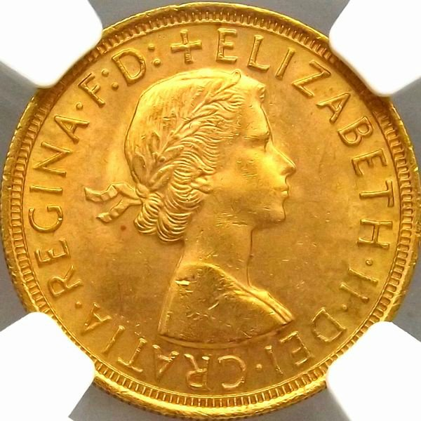初年号 イギリス 1957 エリザベス ソブリン 金貨 NGC MS64