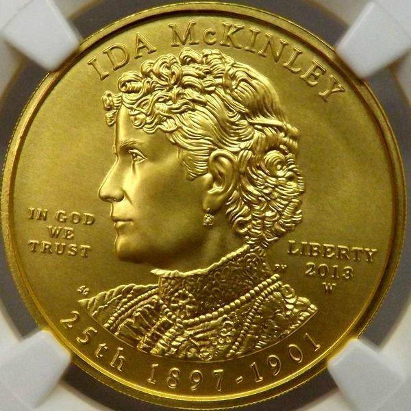 【在庫品】アメリカ 2013 ファーストスパウズ First Spouse アイダ・サックストン・マッキンリー $10 金貨 NGC MS70 ER 最高…