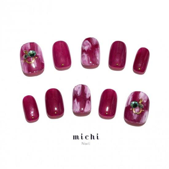 赤紫のぬりかけアートネイル , ネイルチップ専門店ミチネイル