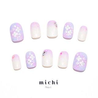 雨粒輝く紫陽花ネイル