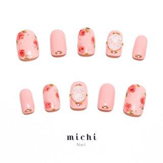 愛されピンクのお花ドームネイル
