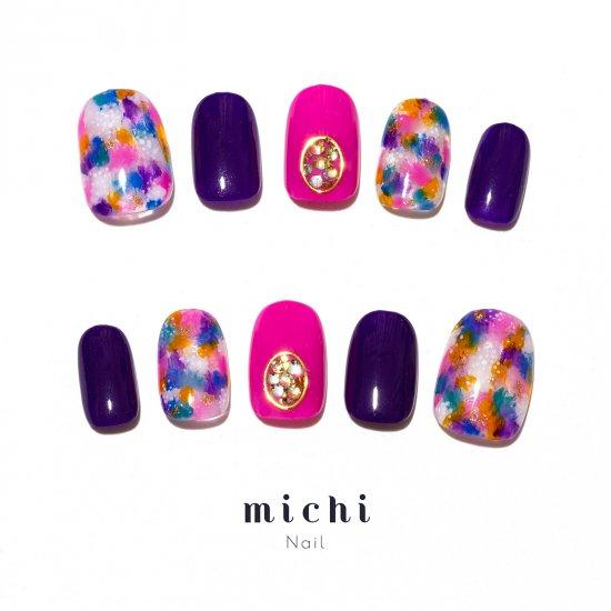 紫×フューシャピンクの色鮮やかネイル, ネイルチップ(つけ爪)専門店ミチネイル