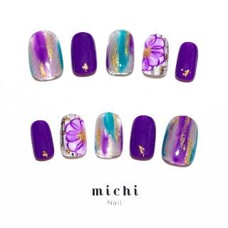 深紫の和モダンネイル