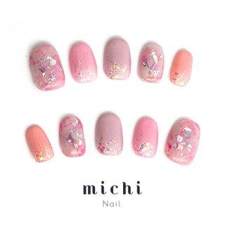 桜カラーのきれいめネイル