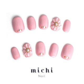ぷっくりお花のピンクネイル