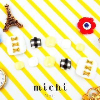 <フット>gingham × ribbon(ギンガム*リボンネイル)