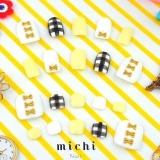 <セット割>gingham × ribbon(ギンガム*リボンネイル)