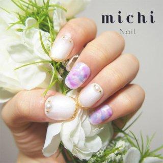 紫陽花色の大理石ネイル