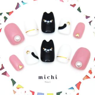 猫耳ネイル*黒にゃんこピンク