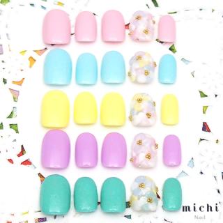 【カラバリ5色】パステルカラーのしきつめお花ネイル