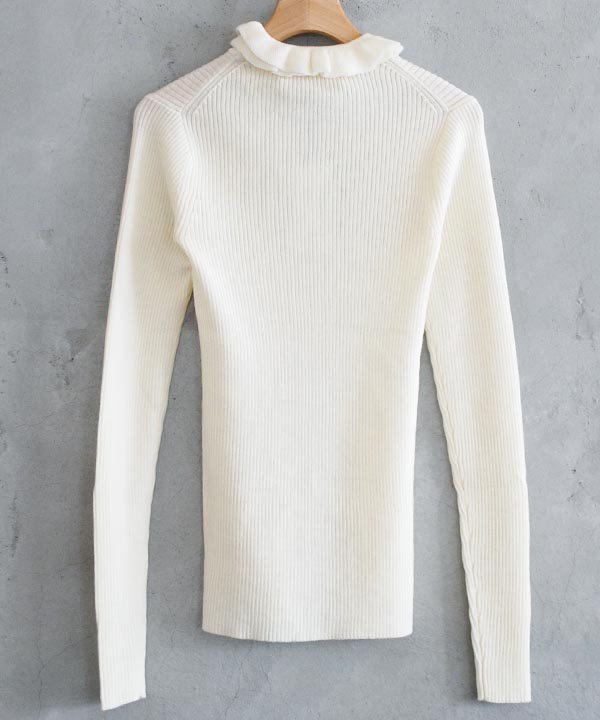 Frill Neck Pullover(アイボリー)<img class='new_mark_img2' src='//img.shop-pro.jp/img/new/icons1.gif' style='border:none;display:inline;margin:0px;padding:0px;width:auto;' />