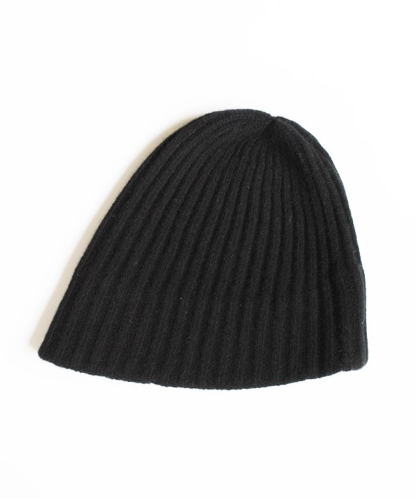 slant cutting knit cap lamb(キャメル/ブラック)