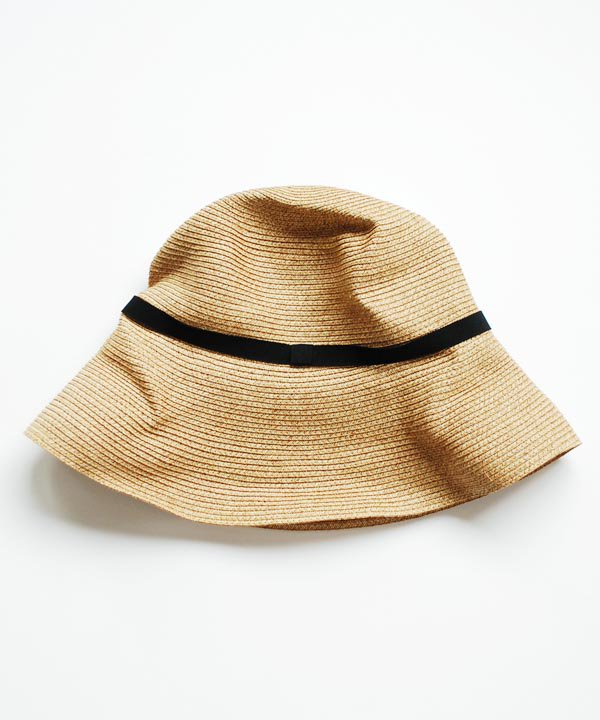 BOXED HAT  / 11cm brim. grosgrain ribbon(mix brown×black:シンプルリボン・別注)<img class='new_mark_img2' src='https://img.shop-pro.jp/img/new/icons52.gif' style='border:none;display:inline;margin:0px;padding:0px;width:auto;' />