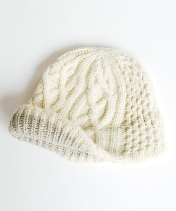 slant cutting knit cap aran2 lamb(ホワイト/キャメル)