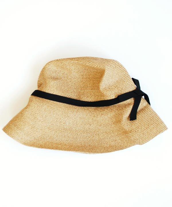 BOXED HAT  / 11cm brim. grosgrain ribbon(mix brown×black:バックリボン・別注