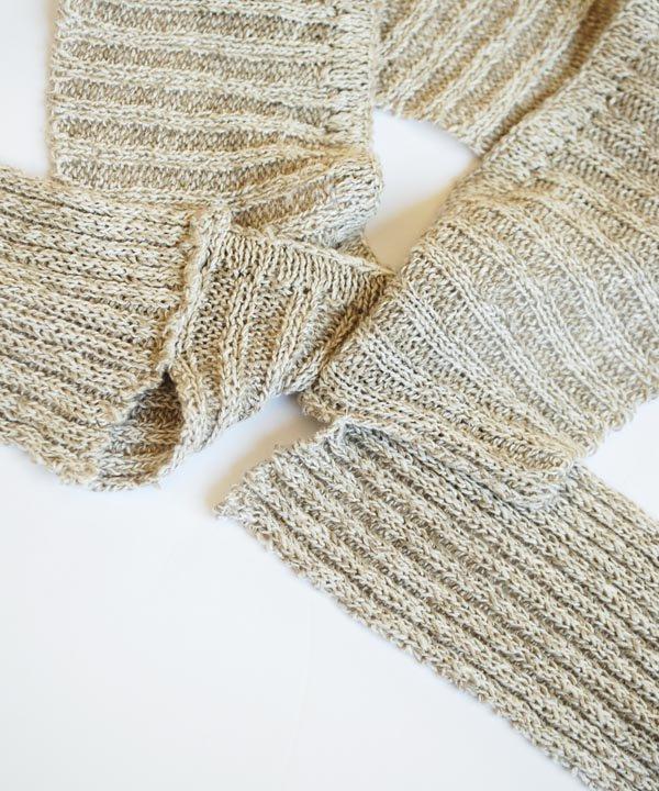 Linen Silk RIB柄ヘアバンド(フラックス)