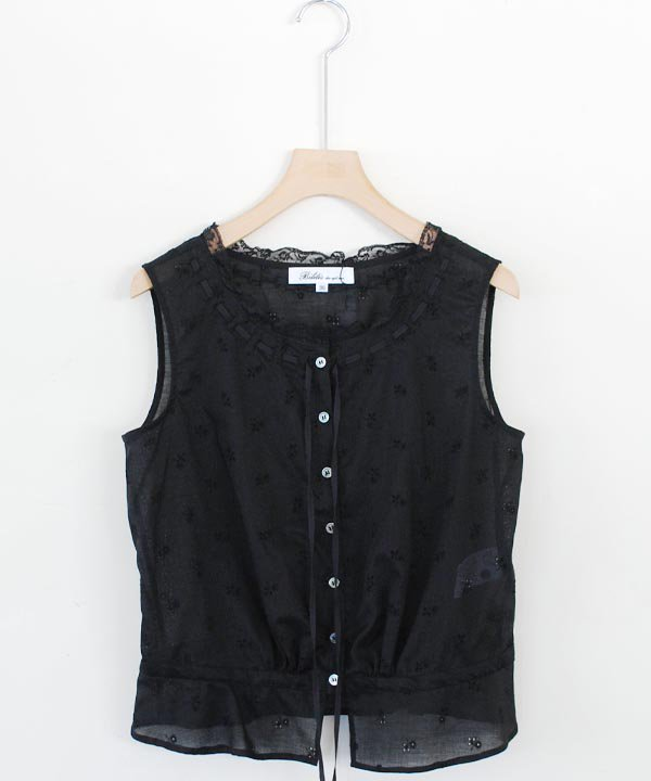 Cotton Embroidery Lace Camisole(ブラック)<img class='new_mark_img2' src='https://img.shop-pro.jp/img/new/icons1.gif' style='border:none;display:inline;margin:0px;padding:0px;width:auto;' />