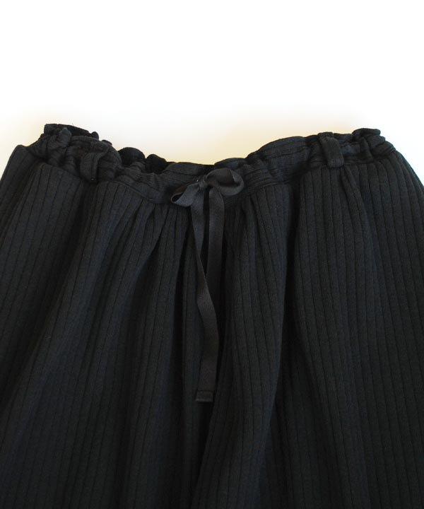 GOWN&FOUNDATION GARMENTS リブ編みスカート(ブラック)