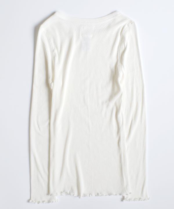 コットンカシミアテレコL/S T-SH(ホワイト)