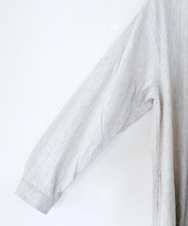 C/L Stripe シャツワンピース(ベージュ)