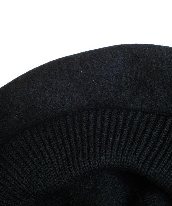 beret top gather rib lamb(ブラック)