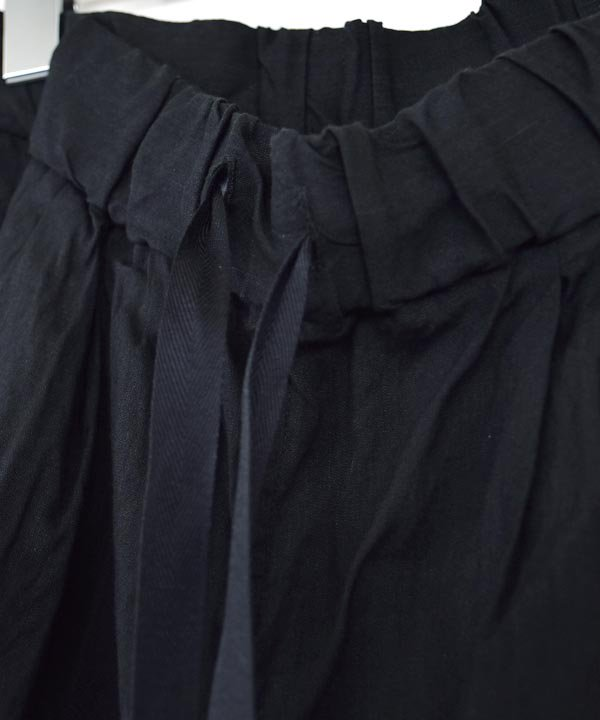 リネンビスコースルーミーロングパンツ(ブラック)