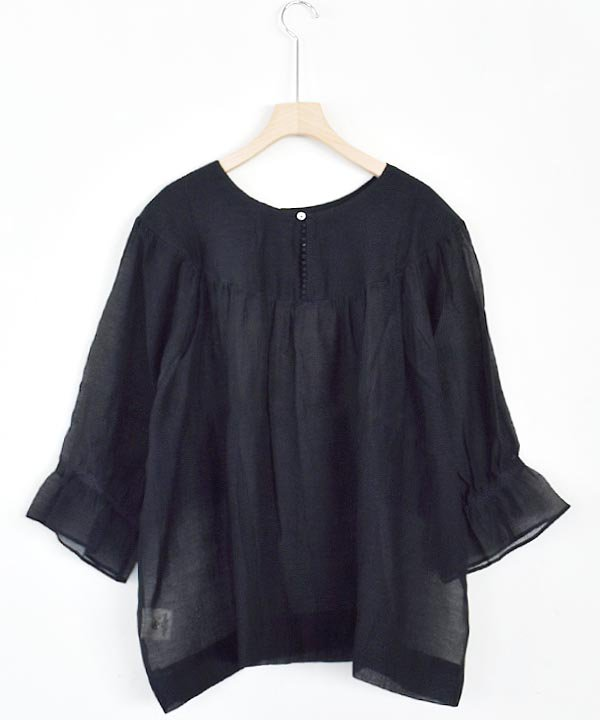 Khadhi Cotton Silk Tule Gather Blouse<img class='new_mark_img2' src='https://img.shop-pro.jp/img/new/icons1.gif' style='border:none;display:inline;margin:0px;padding:0px;width:auto;' />