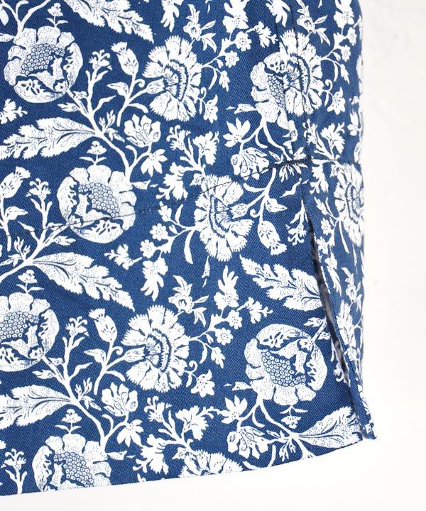 Botanical Print×Work Linen Cotton タックギャザースカート(ネイビー)<img class='new_mark_img2' src='https://img.shop-pro.jp/img/new/icons1.gif' style='border:none;display:inline;margin:0px;padding:0px;width:auto;' />