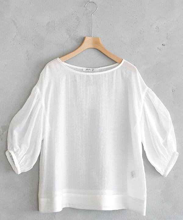 Sheer Voile Blouse(White)<img class='new_mark_img2' src='https://img.shop-pro.jp/img/new/icons1.gif' style='border:none;display:inline;margin:0px;padding:0px;width:auto;' />