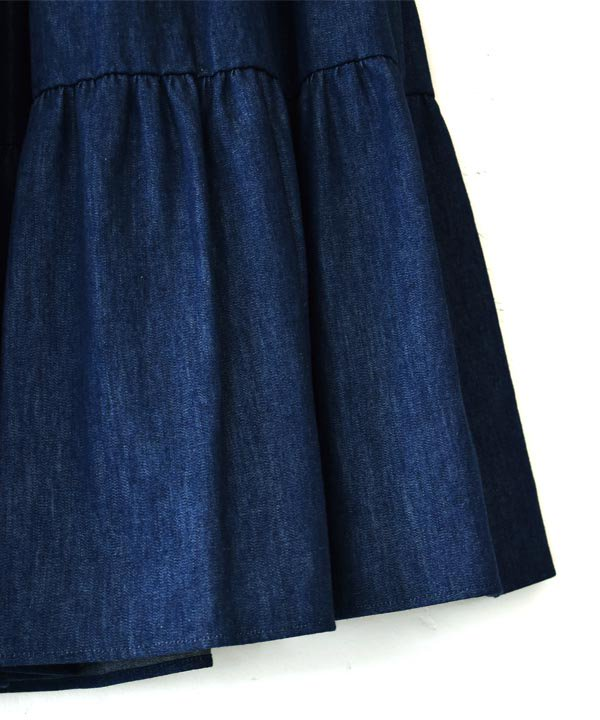 Cotton Tiered Skirt(Indigo Blue)<img class='new_mark_img2' src='https://img.shop-pro.jp/img/new/icons1.gif' style='border:none;display:inline;margin:0px;padding:0px;width:auto;' />