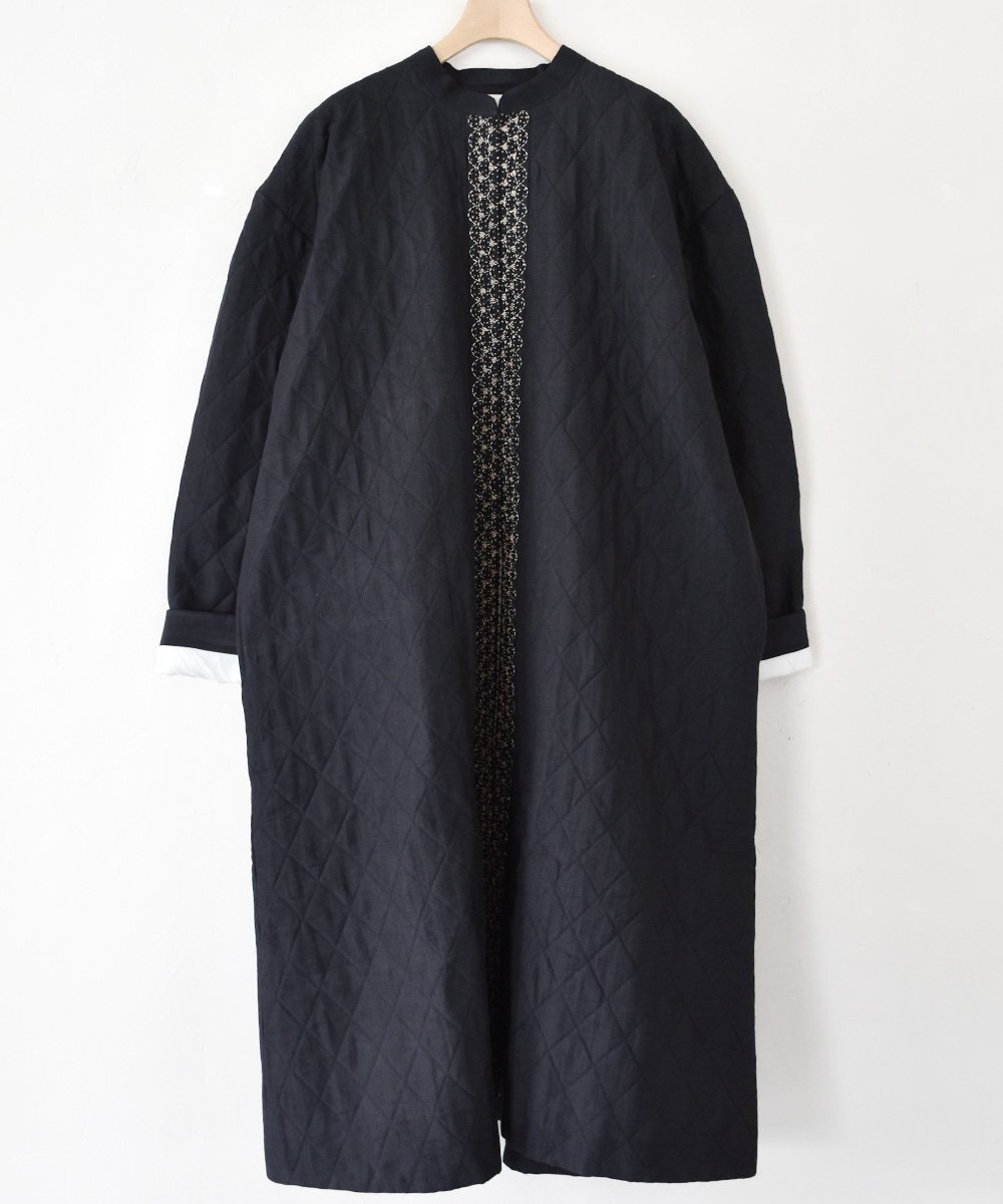 Khadhi Cotton Linen Embroidery Quilting Coat(ブラック)<img class='new_mark_img2' src='https://img.shop-pro.jp/img/new/icons1.gif' style='border:none;display:inline;margin:0px;padding:0px;width:auto;' />